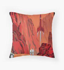 Mars Travel Poster Throw Pillow