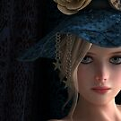 Steampunk girl wearing a blue hat von Britta Glodde