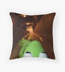 Frog Kermit Slip Mine Salt Mine Throw Pillow
