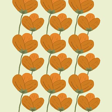 Orange Folksy Floral Pattern by ohjessmarie