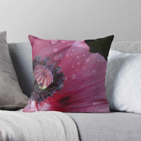 Three flowers: Red - The poppy weeps Throw Pillow