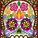 Sugar Skull Floral Art Mexican Calaveras Seamless Pattern  by BluedarkArt