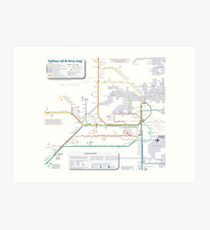 Sydney train and ferry map Art Print