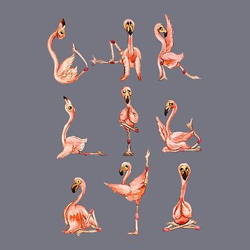 Flamingo yoga acuarela de Huebucket