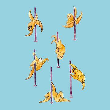 Sloth Pole Dancing Watercolor by Huebucket