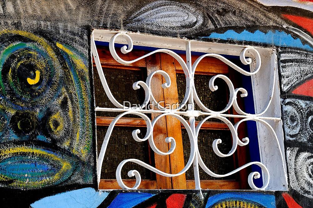 Wall mural, and window.  Havana, Cuba by David Carton