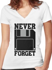 Floppy Disk - Never Forget Women's Fitted V-Neck T-Shirt