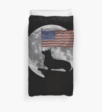 Moon Pembroke Welsh Corgi USA Flag - Funny Pembroke Welsh Corgi Design Bettbezug