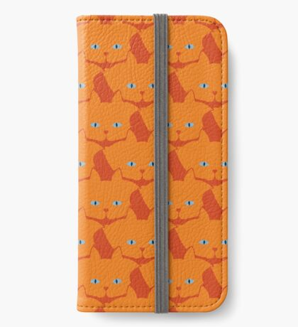 Solid Bright Orange Cat Cattern [Cat Pattern] iPhone Wallet