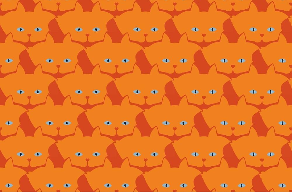 Solid Bright Orange Cat Cattern [Cat Pattern] by Brent Pruitt