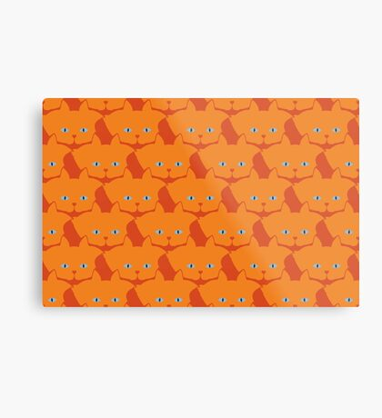 Solid Bright Orange Cat Cattern [Cat Pattern] Metal Print