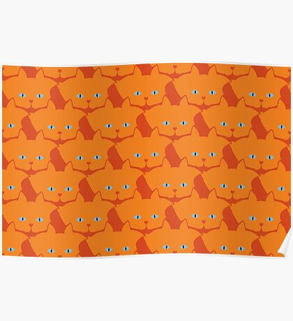 Solid Bright Orange Cat Cattern [Cat Pattern] Poster