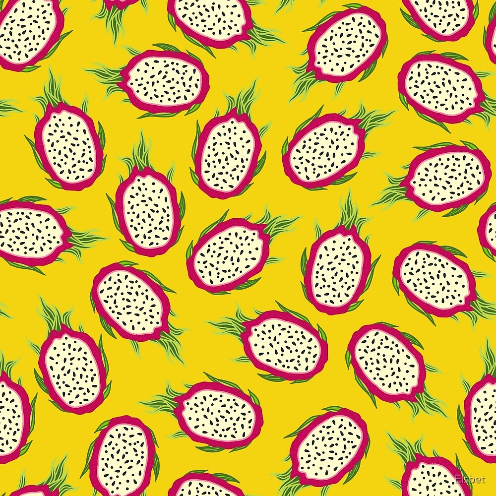 Dragon fruit on yellow background by Elsbet
