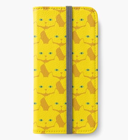 Solid Yellow Cat Cattern [Cat Pattern] iPhone Wallet