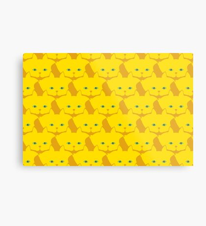 Solid Yellow Cat Cattern [Cat Pattern] Metal Print