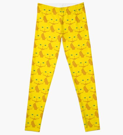 Solid Yellow Cat Cattern [Cat Pattern] Leggings