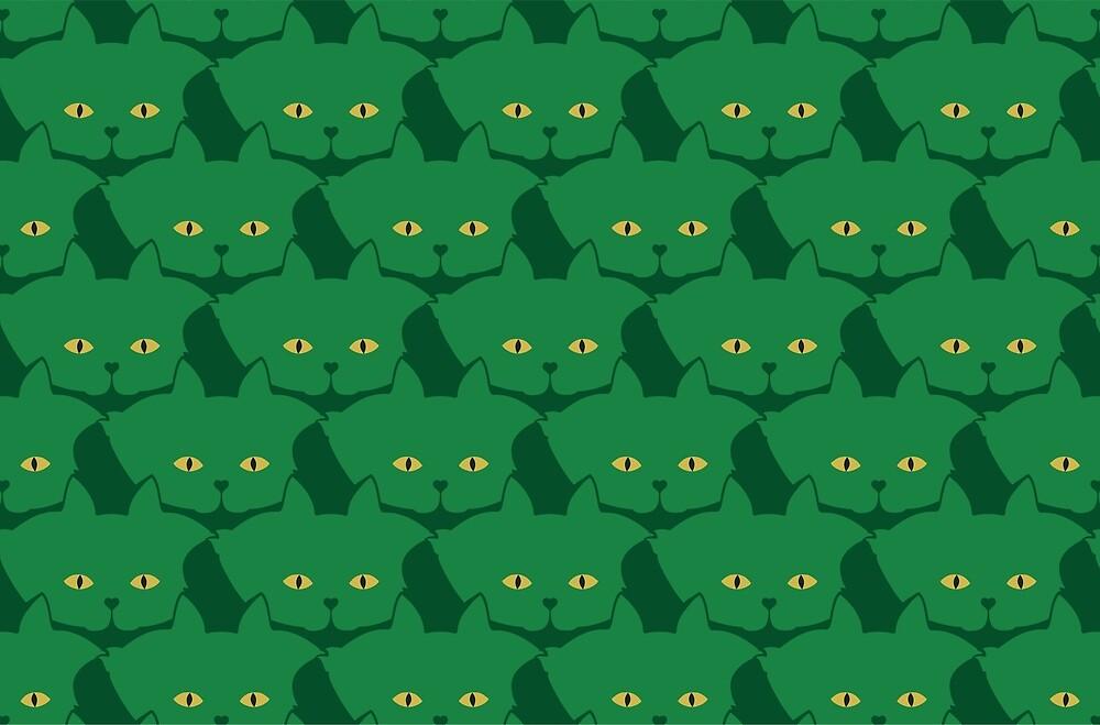 Solid Green Cat Cattern [Cat Pattern] by Brent Pruitt