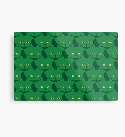 Solid Green Cat Cattern [Cat Pattern] Metal Print