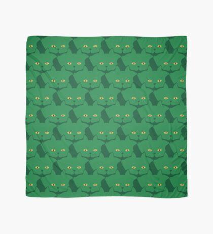 Solid Green Cat Cattern [Cat Pattern] Scarf
