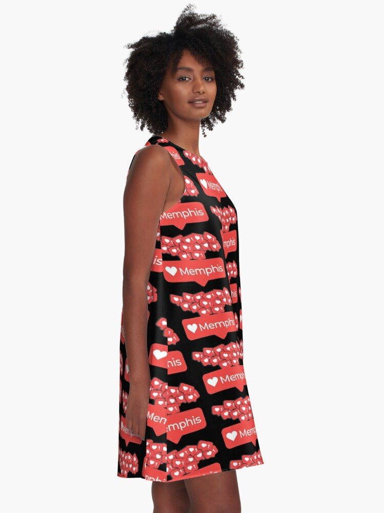 Alternate view of Love My Memphis, Tennessee Notification Hearts A-Line Dress