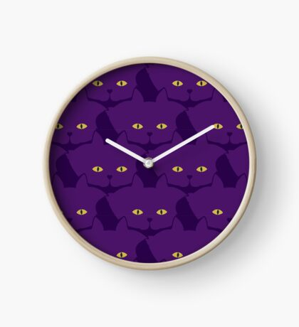 Solid Violet Cat Cattern [Cat Pattern] Clock