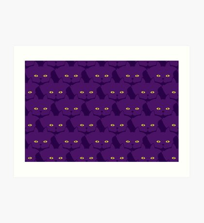 Solid Violet Cat Cattern [Cat Pattern] Art Print