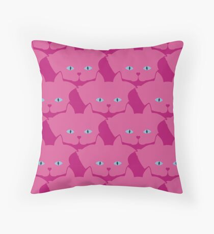 Pink Cat Cattern [Cat Pattern] Throw Pillow