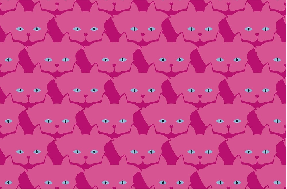 Pink Cat Cattern [Cat Pattern] by Brent Pruitt