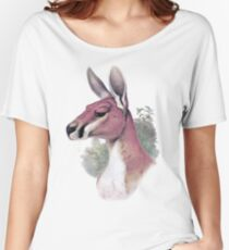 Red kangaroo portrait Women's Relaxed Fit T-Shirt