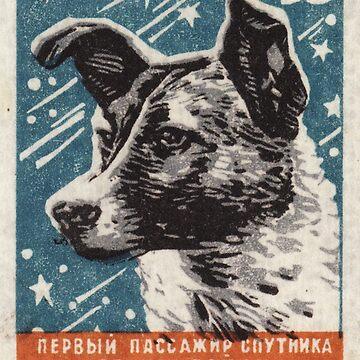 Laika der Hund - Sowjetische Raumkunst, UdSSR Matchbox Design, 1957 von dru1138