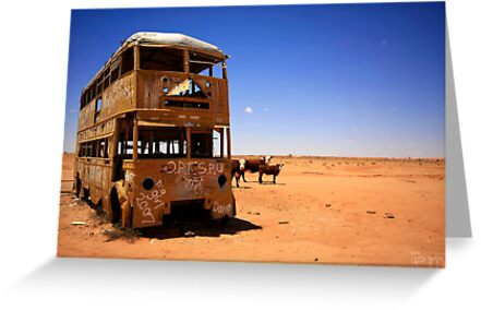 The yellow bus in the Australian desert by Elena Martinello