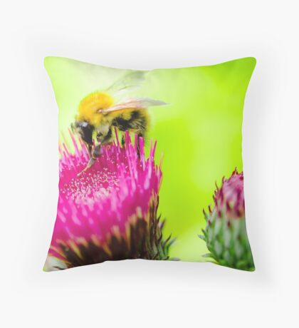 Bumble Bee on Thistle Throw Pillow