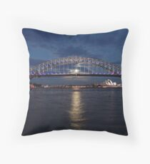 Moon rise over Sydney Throw Pillow