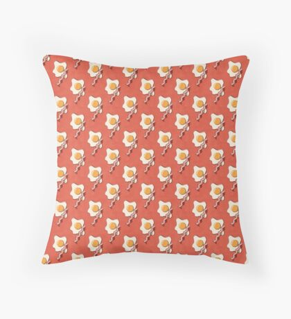 FAST FOOD / Egg and Bacon - pattern Throw Pillow