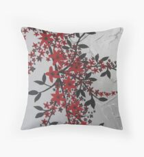 red and black blossom- bold and modern Throw Pillow