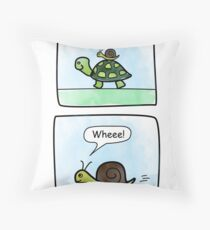Turtle and snail: Let the adventures begin! Throw Pillow