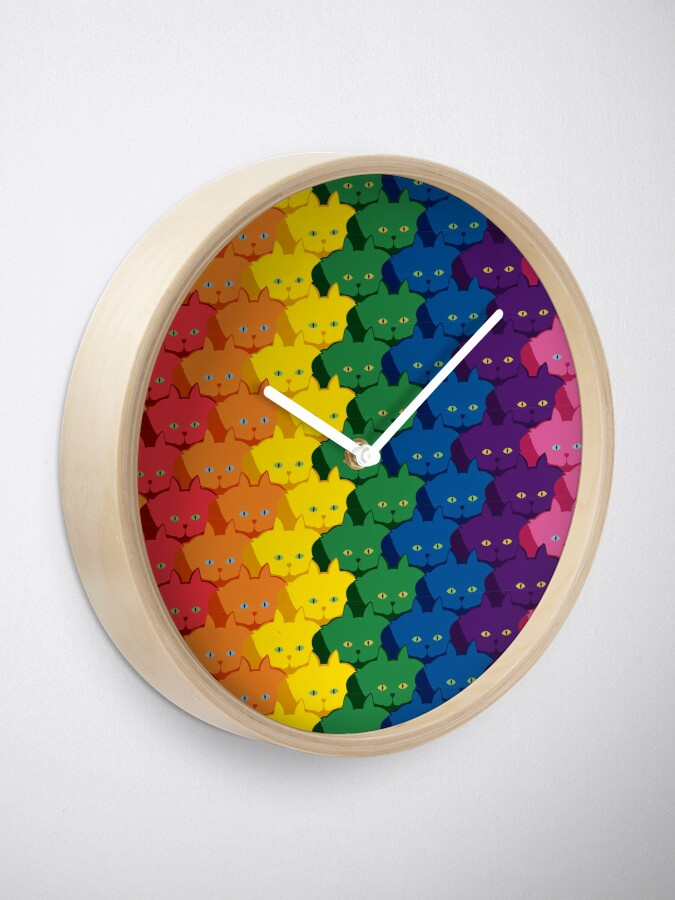 Alternate view of Rainbow Vertical Stripe Cattern [Cat Pattern] Clock