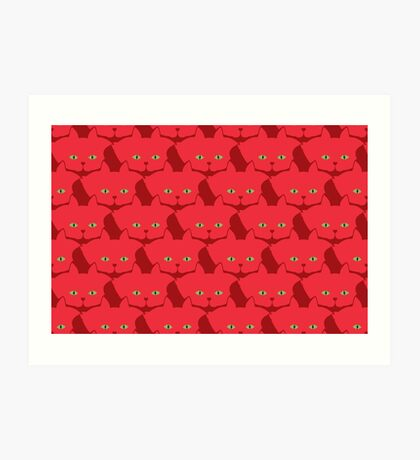 Solid Red Cat Cattern [Cat Pattern] Art Print