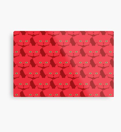 Solid Red Cat Cattern [Cat Pattern] Metal Print