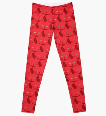 Solid Red Cat Cattern [Cat Pattern] Leggings