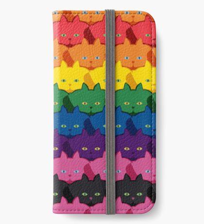 Rainbow Horizontal Stripe Cattern [Cat Pattern] iPhone Wallet