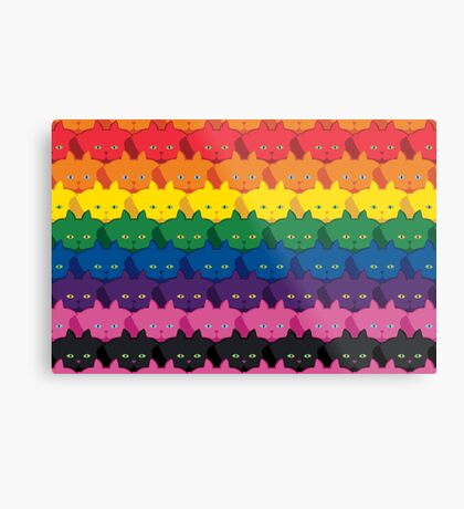 Rainbow Horizontal Stripe Cattern [Cat Pattern] Metal Print