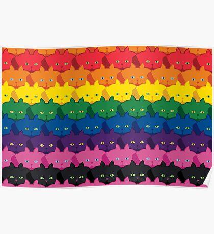 Rainbow Horizontal Stripe Cattern [Cat Pattern] Poster