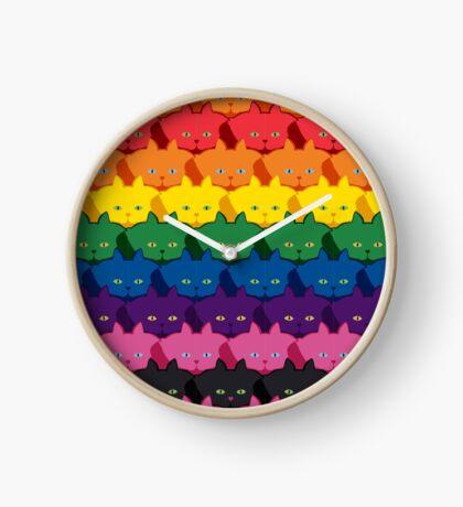 Rainbow Horizontal Stripe Cattern [Cat Pattern] Clock