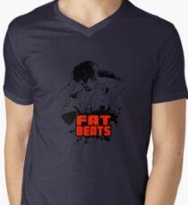 Fat beats Mens V-Neck T-Shirt