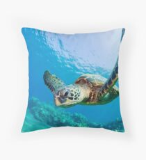 Green Sea Turtle over Reef Throw Pillow