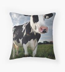 The Friendly Cow Throw Pillow