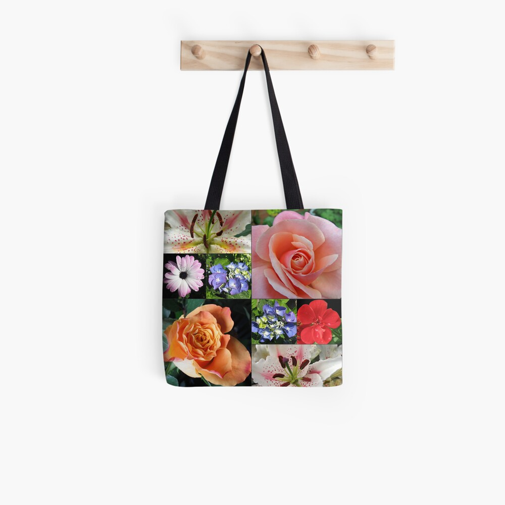 Floral Collage with Roses and Lilies Tote Bag