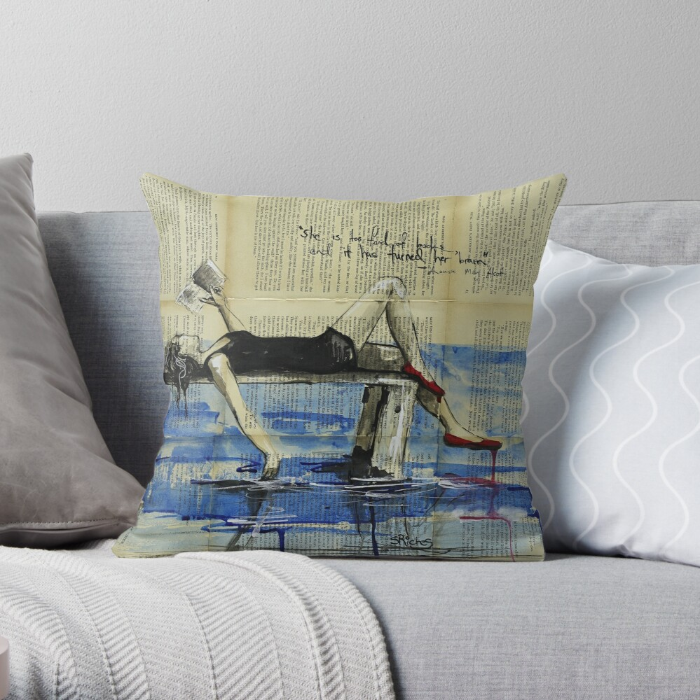 She is Too Fond of Books Throw Pillow