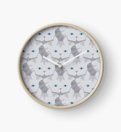 Light Grey #01  Tabby Cat Cattern [Cat Pattern] Clock